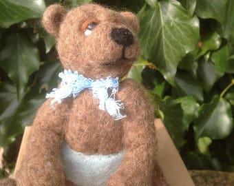 Needle felted Bear, EGGMO Bear, Needle Felted animal