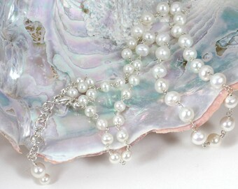 Pearl Necklace, Pearl Strand Necklace, Fresh Water Pearls and Sterling, Pearls and Silver, Ivory Pearl Necklace