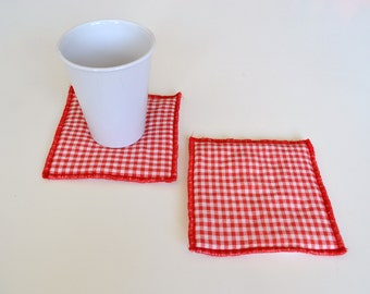 red set of mug rugs - red vichy gingham checkered set of 2x mug rugs - red hostess gift - red mug rugs - mothersday gift - new home gift