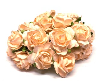 Apricot Classic Mulberry Paper Roses Cr049