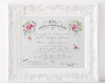 VOW RENEWAL PERSONALIZED Certificate Marriage Certificate Custom Calligraphy Flowers Floral Poppies Printable Digital Download 2018