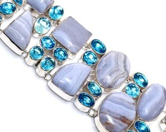 Blue Lace , Blue Quartz HANDMADE 925 Silver Plated Cluster Bracelet BBB