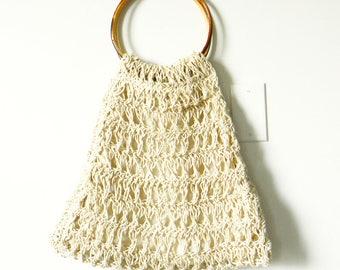 Woven Vintage Boho Purse / Bohemian Knit Purse with Bamboo Handles / 1970s Saks Fifth Avenue Handbag / Made in Italy
