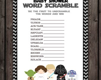 Perfect Starwars Baby Shower Word Scramble Game, Star Wars Baby Shower Game,  Instant Download At Purchase
