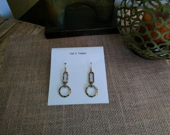 Etched gold tone Dangle Earrings