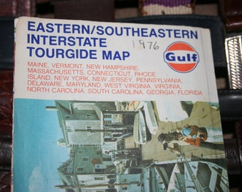 1976 Eastern, Southeastern Interstate Tourgide Map by Rand McNally Co. ,Sponsored by Gulf Oil Company , Map for Crafting, Paper Ephemera