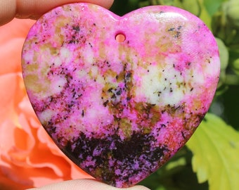 1 unique Crazy Lace Agate pendant bead multicolor heart 44 X 46 X 7 MM. ALV66