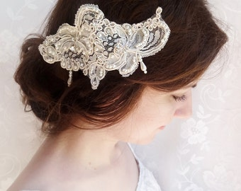 lace headpiece, lace hair comb, lace hair piece, bridal hair clip, bridal hairpiece with pearls, wedding headpiece, crystals, ivory lace