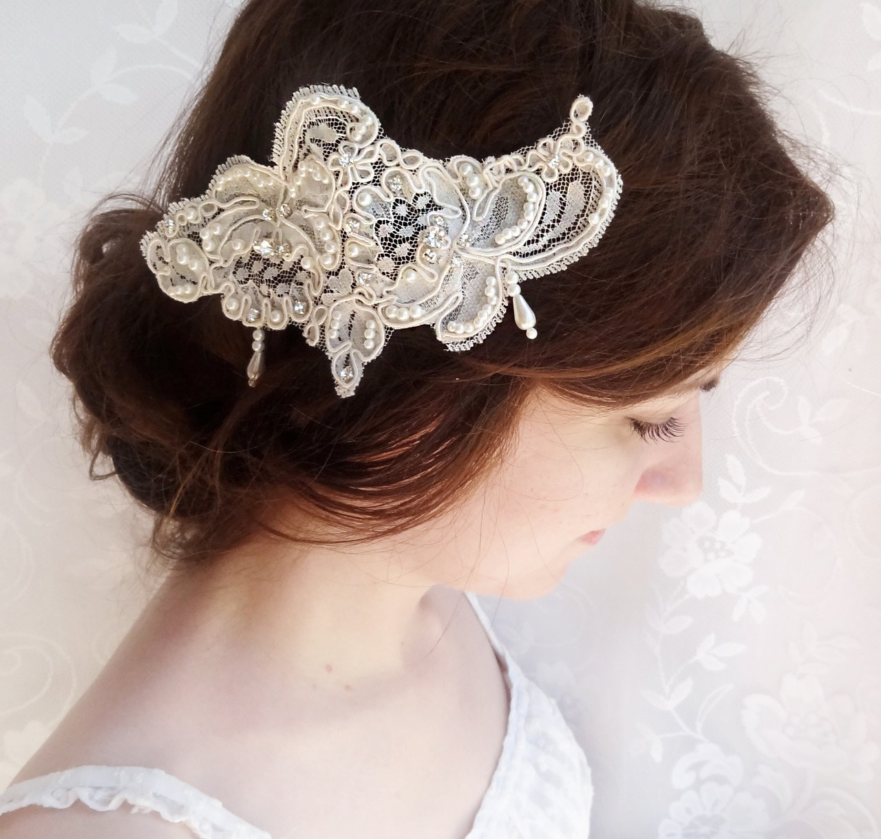 lace headpiece lace hair comb lace hair piece bridal hair