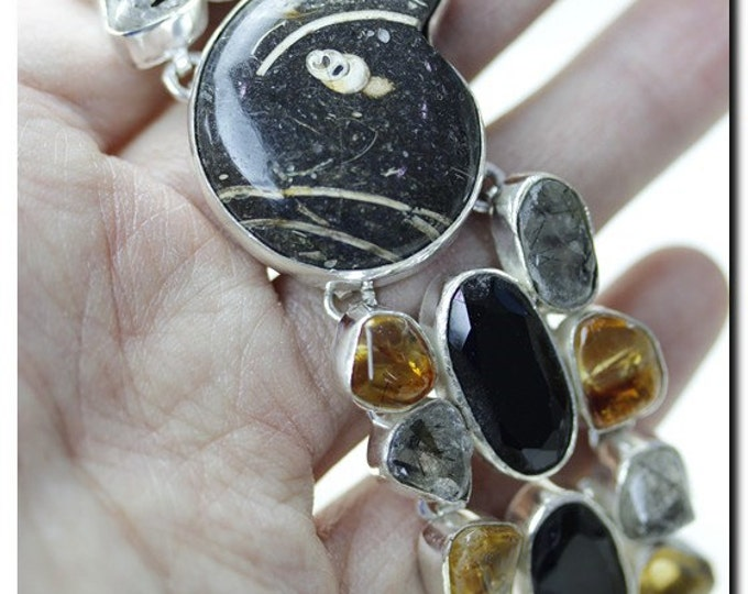 Ammonite Fossil Citrine SPINEL Tourmalated Quartz 925 Solid Sterling Silver Bracelet & FREE Worldwide Shipping B1040