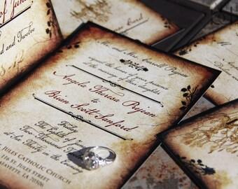 Vintage Romance wedding invitation,Parchment and rose wedding invitations,Vintage chandelier wedding invitations,romantic chandellier, rose