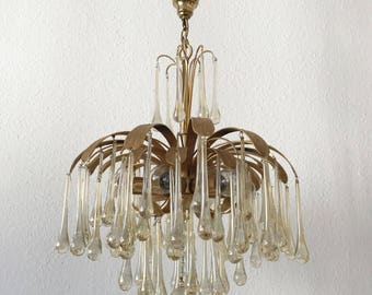 Rare and Stunning Mid Century Modern PALWA 'Tear Drop' and Leaf CHANDELIER | Pendant Lamp | 6-Lights | 1970s