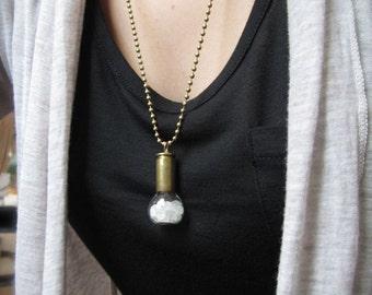 Bullet & Quartz Vial Handmade Pendant Necklace - Glass Bottle Filled White Clear Crystal Rough Nugget Fragments - Gemstone Specimen