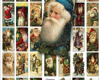 Christmas Santa Digital Collage Sheet - Printable Instant Download - 1 x 2 Domino Size - Father Christmas, Santa Claus - Digital Download