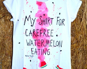 Colorful artistic abstract watermelon hand-painted T-shirt