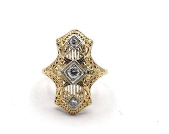 Vintage Filigree Diamond Dinner Ring