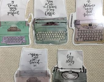Large Typewriter Talk Postcards #1  ( Set of 5) Stationery, Ephemera, Junk Journals, Scrapbooks, Arts and Crafts