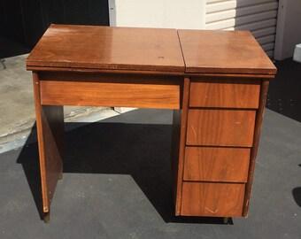 Mid Century Desk, Mid Century Sewing Desk, Vintage Wood Desk, Local Pick Up