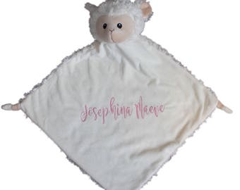 baby blanket, animal blanket, lamb blanket, baby gift, personalized blanket,  x-large Lovey lamb  comes personalized