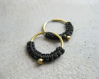 Black Brass Hoop Macrame Earrings. Textile Jewelry . Modern Fiber Textile Jewellery . Design by .. raïz ..