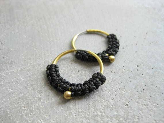 IARA . Dainty Macrame Brass Hoop Earrings . © Design by .. raïz ..