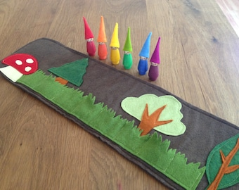 Woodland Roll Up and Play Mat with Rainbow Gnomes, Wool felt toy, felt toadstool, Waldorf  toy, Handmade  toy, play mat, travel toy