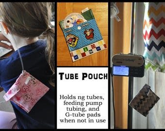 Tube Pouch - Discreet, comfortable accessory for ng tubes or gtubes. Storage for Gtube pads/Button Cushions