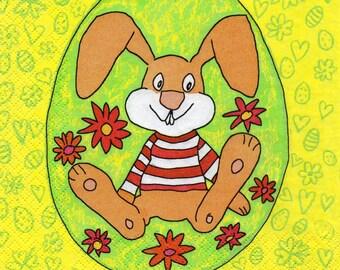439 rabbit HUMORISTIQUE 1 lunch size paper towel