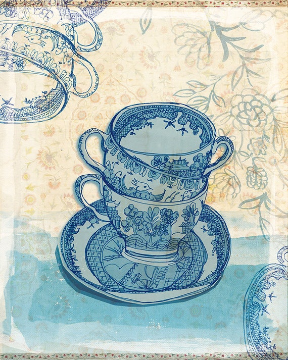 Blue Willow Pattern Tea Cups Wall Art print