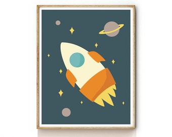 Rocket Print for Kids . Children Illustration . Outer Space Art . Nursery Wall Art . Outer Space Poster . KP0024