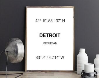 Detroit Print, City Coordinates, Art Print, Wall Art, Typograhie, Michigan print, Home Decor, City Print, Printable Art, Digital Download