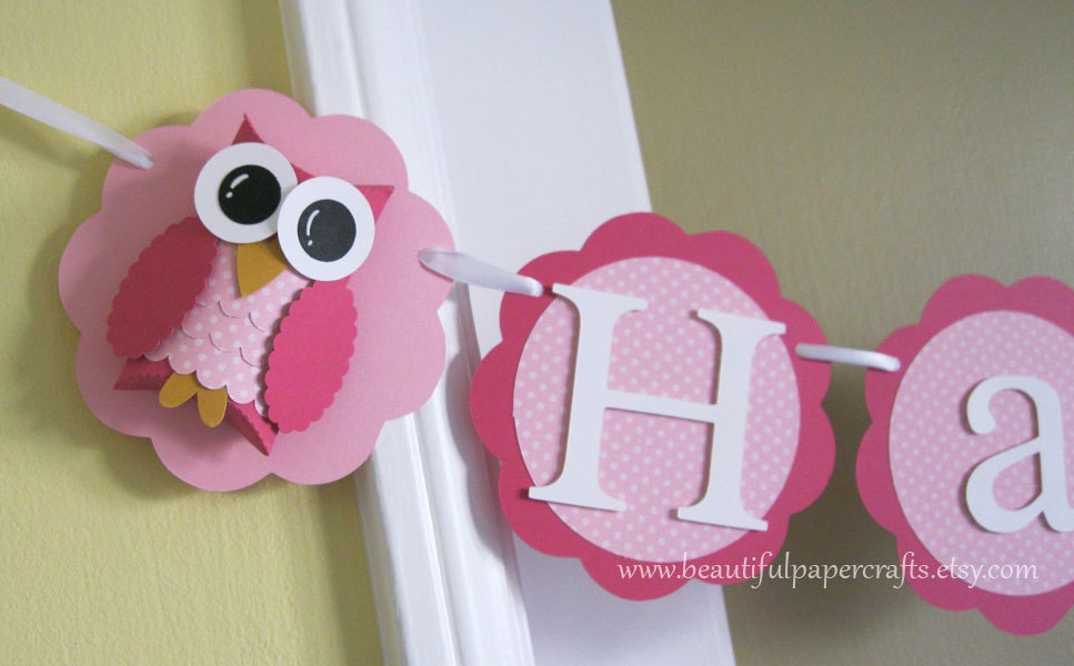 Unique Owl Name Banner Owl Birthday Party Decorations Pink Polka GX84
