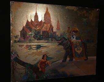 c.1950 Acrylic On Cardboard Painting ARABIAN KNIGHT Rodolph W. Little
