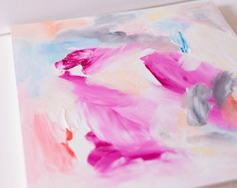 PRICE REDUCED Original Abstract Painting with Magenta Gray and Blue