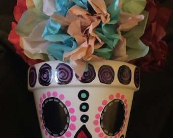 Personalized day of the dead skull pots