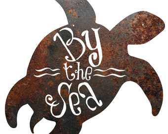 """Rustic Home Decor Turtle """"By The Sea"""" Metal Sign"""