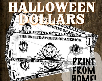Halloween Dollars Instant Download, Reward Good Behavior For Dollars, Printable, jpg, Great Educational Tool