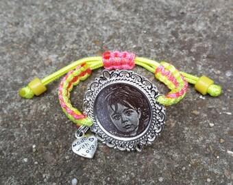 Bracelet macramé avec noeud coulissant à graver
