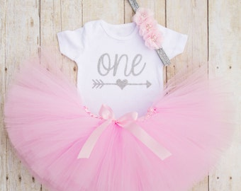 Pink and Silver First Birthday Outfit...Arrow Birthday Shirt..Boho 1st Birthday.Shabby Chic Birthday Outfit..Boho Tutu..Boho Baby Clothes...