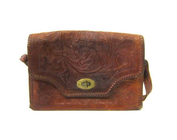 60s Mexican Tooled Leather Purse Brown Floral Purse Flower Embossed Bag Boho Hippie Vintage Southwestern Tribal Ethnic Top handle Purse