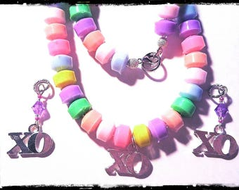 Beaded Necklace and Set: Super Sweet Faux Candy Necklace with XO Charm!  Matching Hearing Aid Charms available at a discounted bundle price