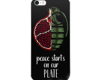 peace starts on our plate iPhone case [5/5s/se/6/6plus] black