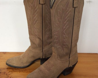Vintage Tan Cowboy Boots Western Boots Cowgirl Boots Texas American Made Size 5.5 M