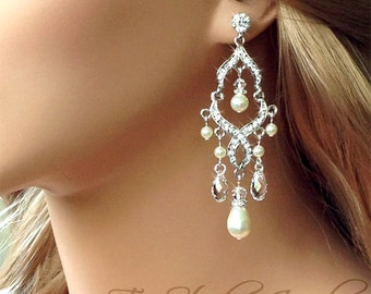 Rhinestone and Pearl Bridal Chandelier Earrings - Earings available in silver or gold - ARIEL