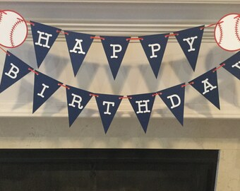 Baseball themed birthday banner
