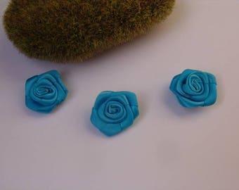 turquoise rose satin - 2.50 cm in diameter