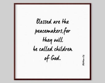 Matthew 5:9 Scripture Canvas Wall Art - Blessed are the peacemakers,for they will be called children of God