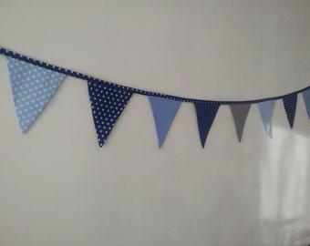 Blue and grey cotton banner