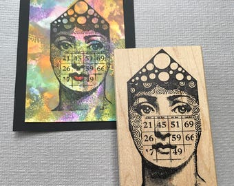 Bingo Collage Lady Rubber Stamp Unmounted RubberStamp EZ Cling Stamp Collage Rubber Stamp