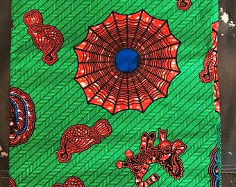 A699 6 yards Vlisco Green/ Brown African Fabric/ African Wax print/ Ankara/ African Material/ cloth/ wrapper/ ntoma